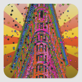 Psychedelic NYC - Top of the Flatiron Building A2 Square Sticker