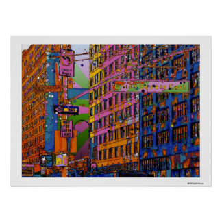 Psychedelic NYC: Union Square Building, St Sign A1 Poster