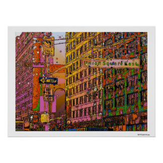 Psychedelic NYC: Union Square Building, St Sign A2 Poster