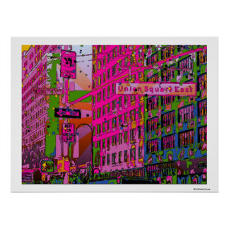 Psychedelic NYC: Union Square Building, St Sign A3 Poster