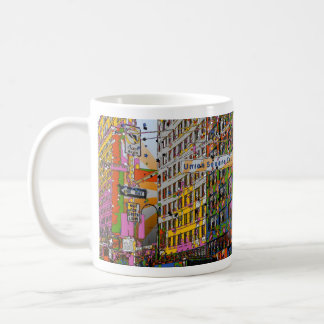 Psychedelic NYC: Union Square Building, St Sign A4 Classic White Coffee Mug