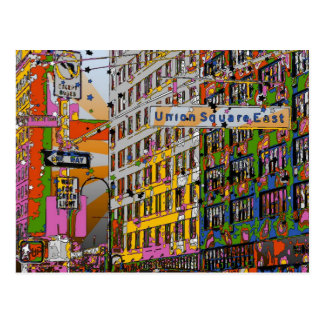 Psychedelic NYC: Union Square Building, St Sign A4 Postcard