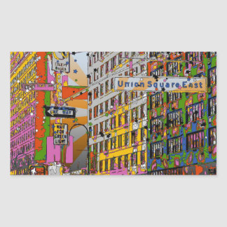 Psychedelic NYC: Union Square Building, St Sign A4 Rectangular Sticker