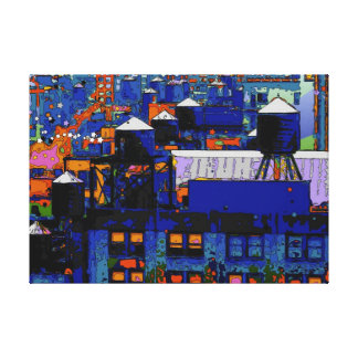 Psychedelic NYC: Water Towers in Winter #6 Canvas Print