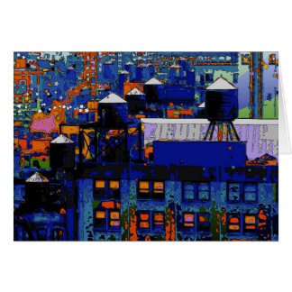 Psychedelic NYC: Water Towers in Winter #6 Greeting Card