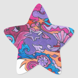 Psychedelic Octopus Star Sticker