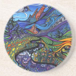 Psychedelic Op Art Landscape Beverage Coaster