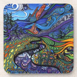 Psychedelic Op Art Landscape Coasters