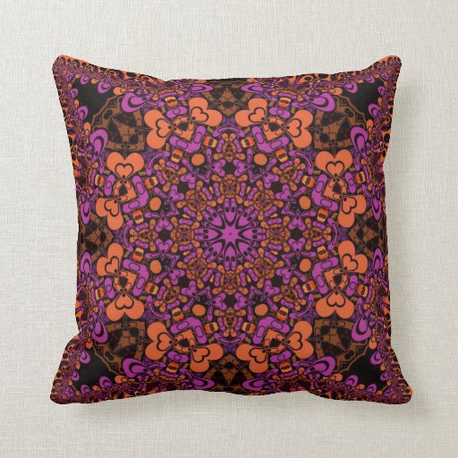 Psychedelic Orange Pink pattern Cushion