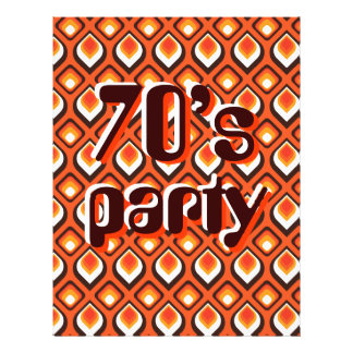 Psychedelic Orange Seventies party Flyer