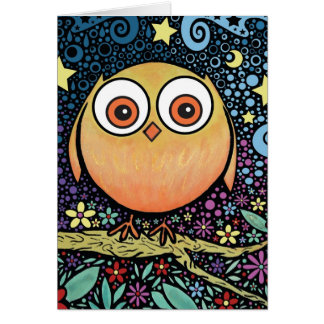 Psychedelic Owl Card