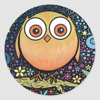 Psychedelic Owl Classic Round Sticker