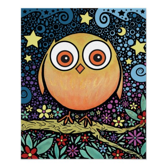 Psychedelic Owl Large Print on Canvas
