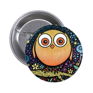Psychedelic Owl Pinback Button