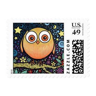 Psychedelic Owl Postage Stamps