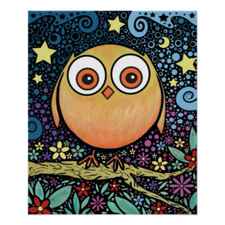 Psychedelic Owl Poster