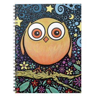 Psychedelic Owl Spiral Note Books