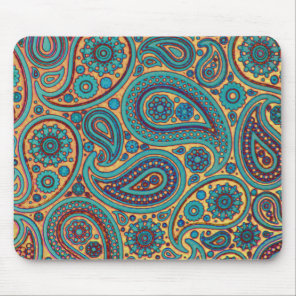 Psychedelic paisley art mouse pad