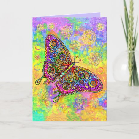 Psychedelic Paisley Butterfly Greeting Card