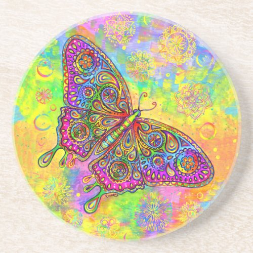 Psychedelic Paisley Butterfly Round Stone Coaster
