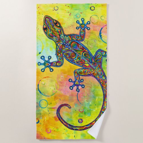 Psychedelic Paisley Electric Gecko Beach Towel
