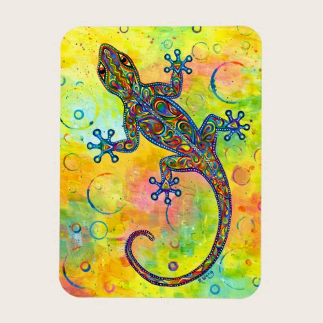 Psychedelic Paisley Electric Gecko Flexible Magnet