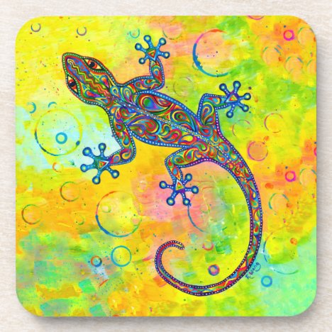 Psychedelic Paisley Electric Gecko Plastic Coaster