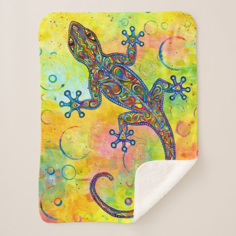 Psychedelic Paisley Electric Gecko Sherpa Blanket