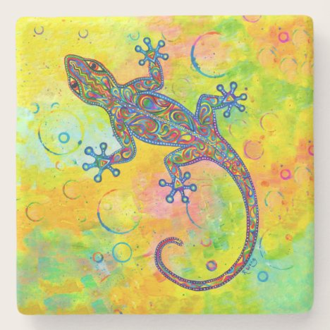 Psychedelic Paisley Electric Gecko Stone Coaster
