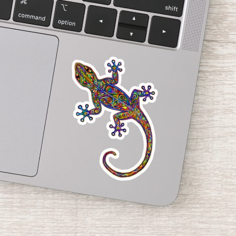 Psychedelic Paisley Electric Gecko Vinyl Sticker