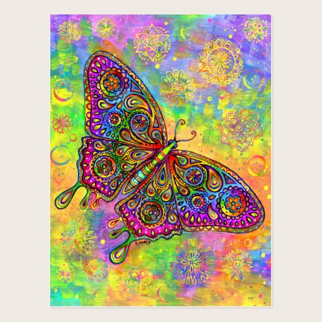 Psychedelic Paisley Rainbow Butterfly Art Postcard