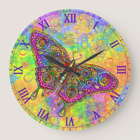 Psychedelic Paisley Rainbow Butterfly Wall Clock