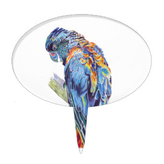 Psychedelic Parrot Australian Cockatoo Cake Topper