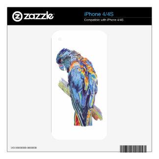 Psychedelic Parrot Australian Cockatoo Decals For iPhone 4