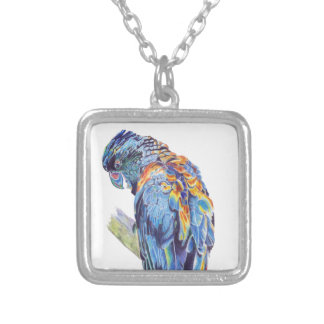 Psychedelic Parrot Australian Cockatoo Square Pendant Necklace