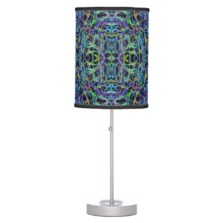 Psychedelic Pattern in Green, Purple and Black Desk Lamp