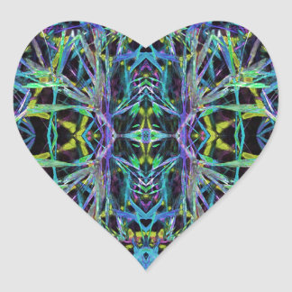 Psychedelic Pattern in Green, Purple and Black Heart Sticker