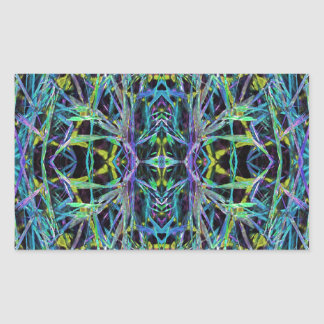 Psychedelic Pattern in Green, Purple and Black Rectangular Sticker