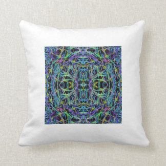 Psychedelic Pattern in Green, Purple and Black Throw Pillow