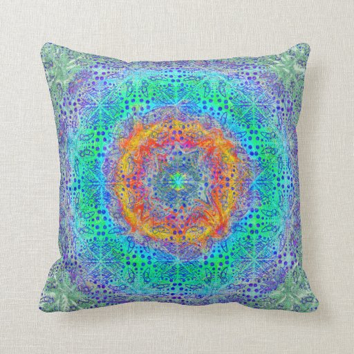 Throw Pillow Design Patterns : Psychedelic Pattern Throw Pillow