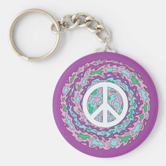 Psychedelic Peace Basic Round Button Keychain