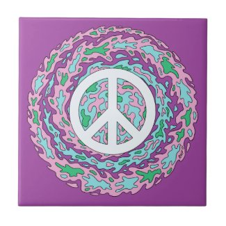 Psychedelic Peace Ceramic Tile