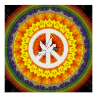 Psychedelic Peace Dove Poster