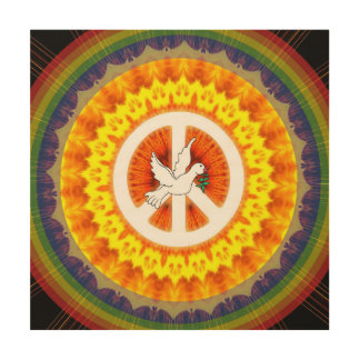 Psychedelic Peace Dove Wood Print