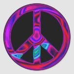 Psychedelic Peace Round Stickers