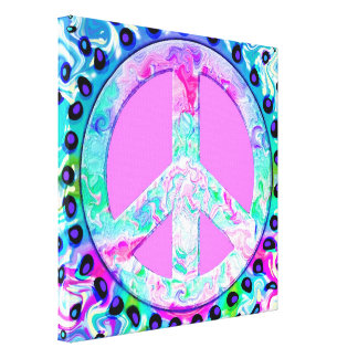 Psychedelic Peace Sign Abstract Art Canvas Print
