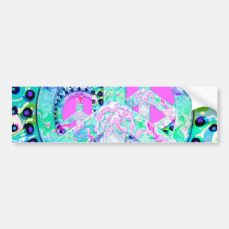 Psychedelic Peace Sign Abstract Bumper Sticker