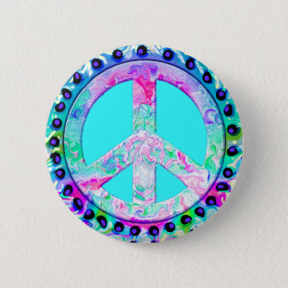 Psychedelic Peace Sign Abstract Button
