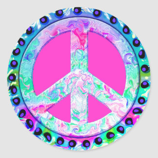 Psychedelic Peace Sign Abstract Classic Round Sticker