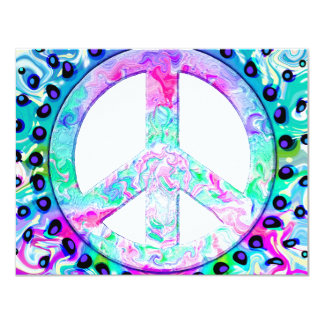 """Psychedelic Peace Sign Abstract 4.25"""" X 5.5"""" Invitation Card"""